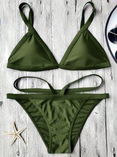 Padded V Strap Thong Bikini Set - Army Green L