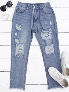 Jeans Déchiré Zippé Avec Ourlet Rude - Denim Bleu S