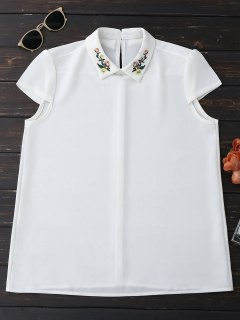 Cap Sleeve Embroidered Chiffon Blouse - White S