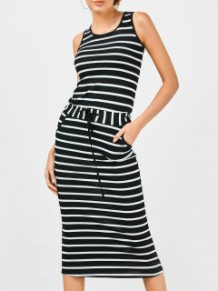 Drawstring Waist Striped Tank Dress - Black