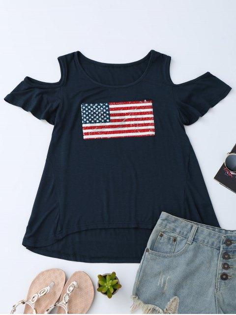 best American Flag Sequins Cold Shoulder T-Shirt - PURPLISH BLUE M Mobile