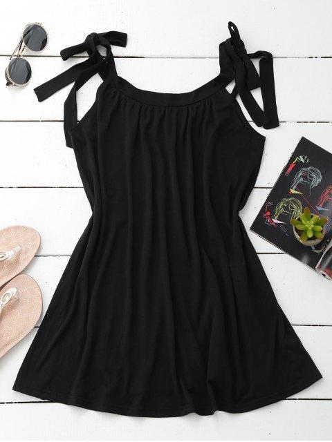 Robe à longueur Mini avec filets à style casual - Noir XL Mobile