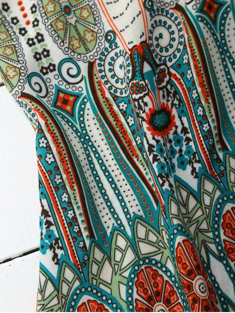 womens High Neck Printed Tunic Dress - COLORMIX M Mobile