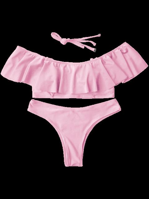 Combinaison de bain paules d nud es volants rose p le bikinis l zaful - Combinaison rose pale ...