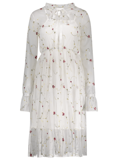 affordable Long Sleeve Floral Tulle Dress With Tank Top - WHITE L Mobile