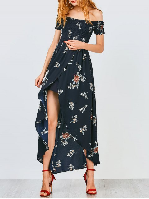 fashion Off Shoulder Floral Shirred Asymmetric Maxi Dress - CADETBLUE S Mobile