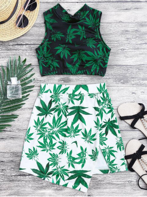 lady Weed Print Swimsuit and Cover Up Skirt - GREEN XL Mobile