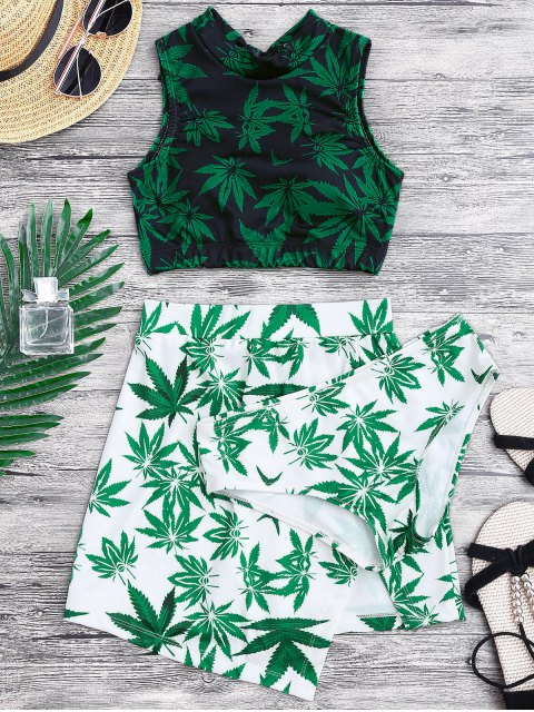 best Weed Print Swimsuit and Cover Up Skirt - GREEN L Mobile