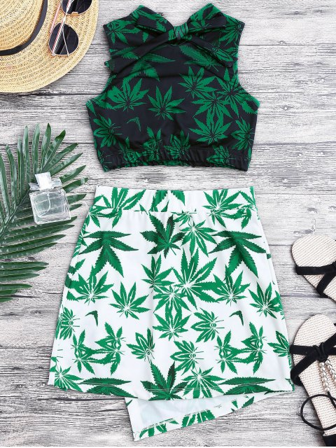 online Weed Print Swimsuit and Cover Up Skirt - GREEN M Mobile