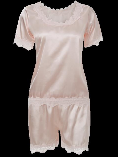 fashion Satin Scoop Tee Boxer Pajama - LIGHT PINK XL Mobile