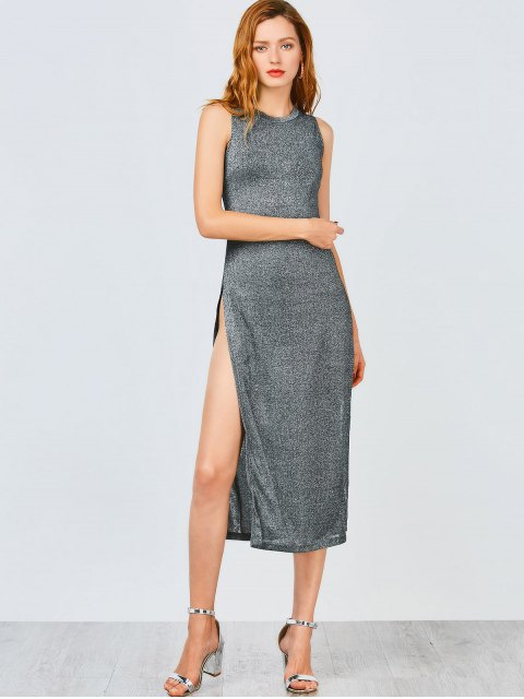 shops Sleeveless High Slit Club Dress - FROST S Mobile