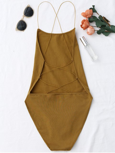 sale Backless Criss Cross Bodysuit - COFFEE ONE SIZE Mobile