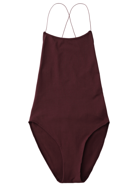 womens Backless Criss Cross Bodysuit - WINE RED ONE SIZE Mobile