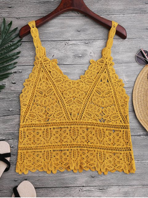 chic Hollow Out Crochet Cami Cover Up - GINGER ONE SIZE Mobile