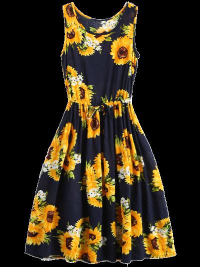 Sleeveless Drawstring Waist Sunflower Dress - Floral