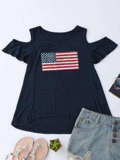 American Flag Sequins Cold Shoulder T-Shirt - Purplish Blue