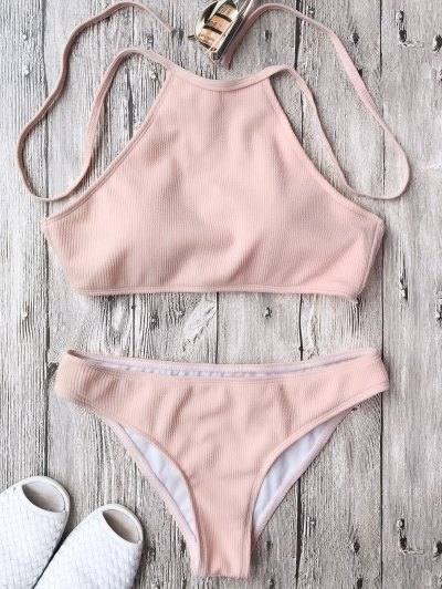 Ribbed Textured High Neck Bikini Set - Pink