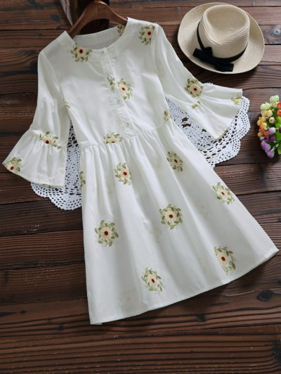 Floral Embroidered Flare Sleeve Dress - White