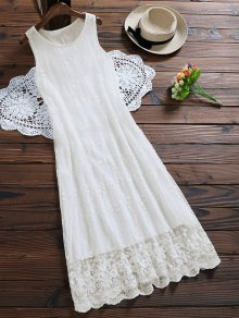 Sleeveless Tulle Lace Maxi Dress - White
