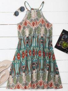 High Neck Printed Tunic Dress - Xl