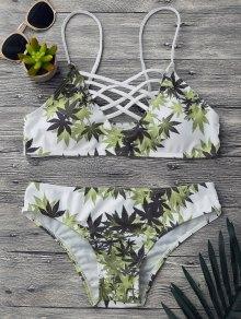 Padded Weed Print Strappy Bikini Set