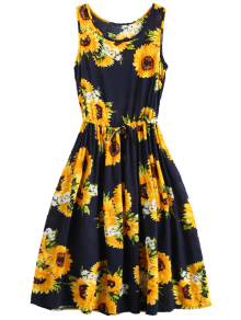 Sleeveless Drawstring Waist Sunflower Dress