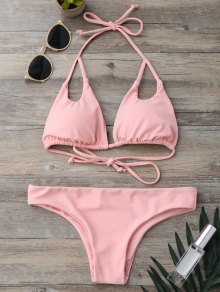 Cut Out Padded Halter Thong Bikini - Pink