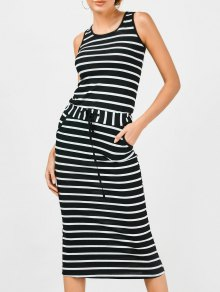 Drawstring Waist Striped Tank Dress
