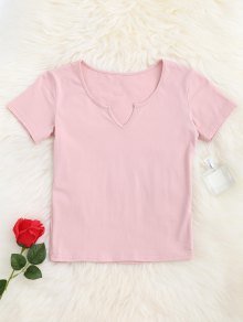 V Neck Cropped T-Shirt