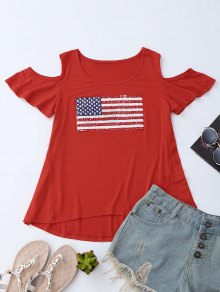 American Flag Sequins Cold Shoulder T-Shirt - Red S