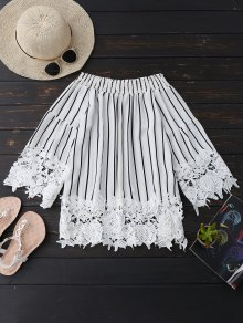 Striped Lace Trim Off The Shoulder Blouse