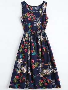 Floral Drawstring Sleevelss Midi Dress - Floral