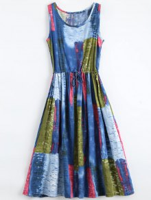 Drawstring Waist Sleeveless Print Dress