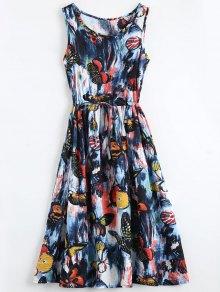 Vestido Sin Manga Con Cordón Con Pintura De Mariposa - M