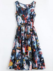 Butterfly Painted Drawstring Sleeveless Dress - L