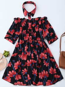 Floral Off Shoulder Dress With Shirt Collar