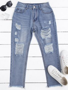 Zip Fly Frayed Hem Ripped Jeans - Denim Blue