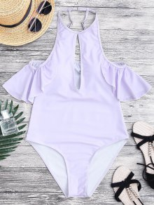 High Cut Keyhole Neck One Piece Swimsuit - Purple S