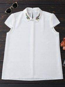 Cap Sleeve Embroidered Chiffon Blouse - White M