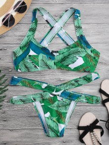 Leaf Print Cross Back Bandage Bikini Set