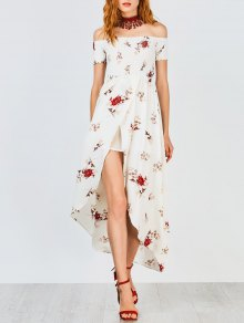 Off Shoulder Floral Shirred Asymmetric Maxi Dress