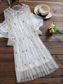Long Sleeve Floral Tulle Dress With Tank Top - White