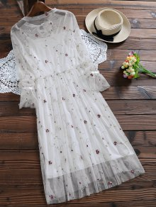 Long Sleeve Floral Tulle Dress With Tank Top - WHITE M