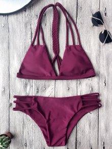 Ensemble De Bikini à Dos-nu En  Macrame  - Merlot L