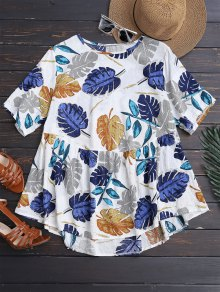 Leaf Print Skirted Holiday Top - 2xl