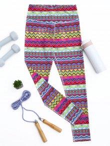 Skinny Tribal Print Sporty Leggings - L