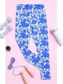 Skinny Tie-Dyed Sporty Leggings - Sky Blue