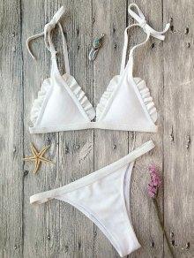 Rib Textured Frilled String Bikini Set - White S