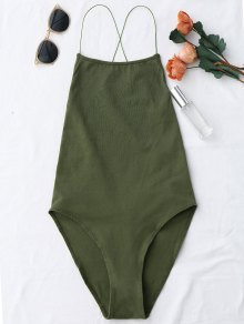 Backless Criss Cross Bodysuit - Army Green