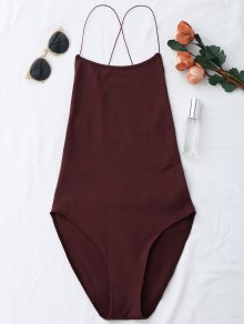 Backless Criss Cross Bodysuit - Wine Red